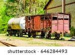 abandoned red vintage wooden... | Shutterstock . vector #646284493