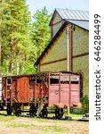 abandoned red vintage wooden... | Shutterstock . vector #646284499