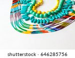 beaded necklace from colorful... | Shutterstock . vector #646285756
