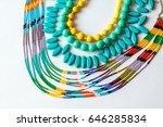 beaded necklace from colorful... | Shutterstock . vector #646285834