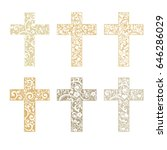 Set Of Crosses Isolated On...