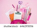 close up view of various school ... | Shutterstock . vector #646295056