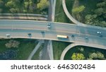 Small photo of Evening highway traffic. Aerial shot, top down view