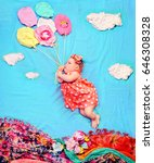 infant baby girl flying on a... | Shutterstock . vector #646308328
