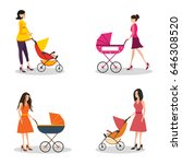 isolated set of moms with... | Shutterstock .eps vector #646308520