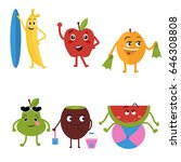 cute characters fruit cartoon... | Shutterstock .eps vector #646308808