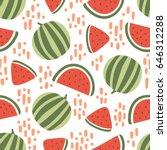 watermelon seamless pattern... | Shutterstock .eps vector #646312288