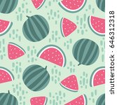 watermelon seamless pattern... | Shutterstock .eps vector #646312318