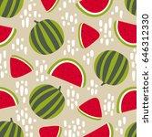 watermelon seamless pattern... | Shutterstock .eps vector #646312330