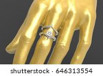 3d rendering of diamond ring  | Shutterstock . vector #646313554