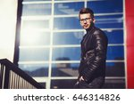 stylish man in a leather jacket ... | Shutterstock . vector #646314826