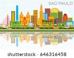 sao paulo skyline with gray... | Shutterstock .eps vector #646316458