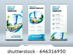 business roll up banner stand.... | Shutterstock .eps vector #646316950