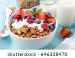 healthy breakfast in a bowl... | Shutterstock . vector #646328470