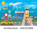 urban cityscape with airport... | Shutterstock .eps vector #646331800