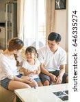 portrait of happy family stay... | Shutterstock . vector #646335274
