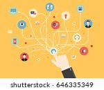 connection hand with icons... | Shutterstock .eps vector #646335349