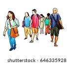 people walking marker sketch... | Shutterstock . vector #646335928