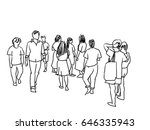 people walking marker sketch... | Shutterstock . vector #646335943