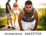 exhausted jogger taking a break ... | Shutterstock . vector #646337539