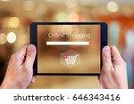 online shopping concept on... | Shutterstock . vector #646343416