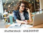 modern business woman in city... | Shutterstock . vector #646344949