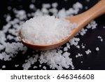 sea salt   table salt   on... | Shutterstock . vector #646346608
