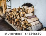 cords of firewood stacked near... | Shutterstock . vector #646346650