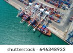 container ship in export and... | Shutterstock . vector #646348933