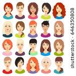 woman avatar set vector... | Shutterstock .eps vector #646350808
