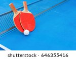 pingpong rackets and ball and... | Shutterstock . vector #646355416