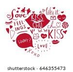set of valentine's day in... | Shutterstock .eps vector #646355473