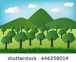 paper art green nature  eco... | Shutterstock .eps vector #646358014