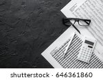 accounting work space with... | Shutterstock . vector #646361860