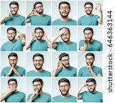 set of young man's portraits... | Shutterstock . vector #646363144