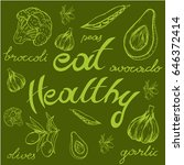 inscription healthy food  half... | Shutterstock .eps vector #646372414