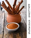 cinnamon sticks and cinnamon... | Shutterstock . vector #646377499