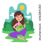 beautiful long haired girl sits ... | Shutterstock .eps vector #646384183