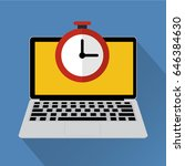 clock on laptop computer with... | Shutterstock .eps vector #646384630