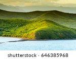 sunset landscape on the hills... | Shutterstock . vector #646385968