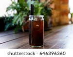cold brew coffee in a glass jar ... | Shutterstock . vector #646396360