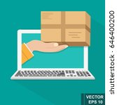 online order. a parcel. flat.... | Shutterstock .eps vector #646400200
