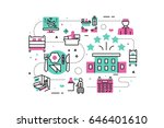hotel service   facilities line ... | Shutterstock .eps vector #646401610