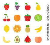 set of fruit icons. flat design.... | Shutterstock .eps vector #646404280