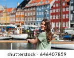 happy young tourist woman... | Shutterstock . vector #646407859