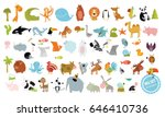 Stock vector big vector set of animals cow dog alligator bear panda penguin octopus koala cartoon 646410736