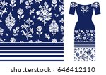 blue and white floral pattern... | Shutterstock .eps vector #646412110