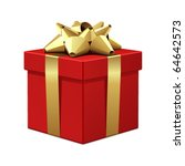 red gift with gold bow vector...
