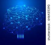 brain technology circuit board... | Shutterstock .eps vector #646435390