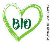 green vector bio and heart. for ... | Shutterstock .eps vector #646435960